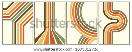retro vintage 70s style stripes background poster lines. shapes vector design graphic 1970s retro background. abstract stylish 70s era line frame illustration Royalty-Free Stock Photo #1893812926