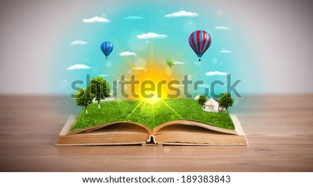 Open book with green nature world coming out of its pages, ecological concept #189383843