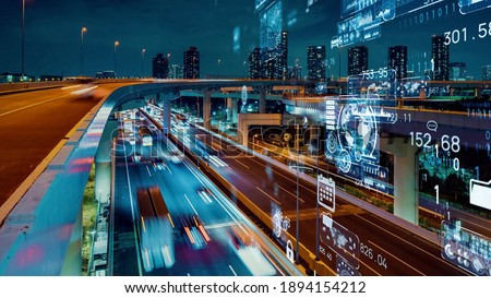 Transportation and technology concept. ITS (Intelligent Transport Systems). Mobility as a service. Royalty-Free Stock Photo #1894154212