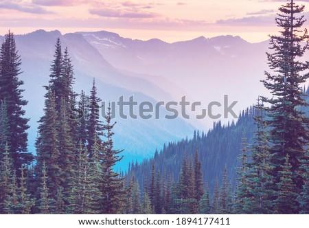 Beautiful mountain peak in  North Cascade Range, Washington,  USA Royalty-Free Stock Photo #1894177411