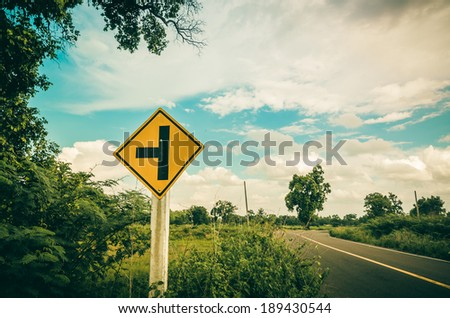Road sign symbol and blue sky in  countryside view nature #189430544