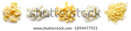 Set of cheese pieces - parmesan, mozzarella, diced, grated and soft cheese isolated on white background, top view Royalty-Free Stock Photo #1894477921