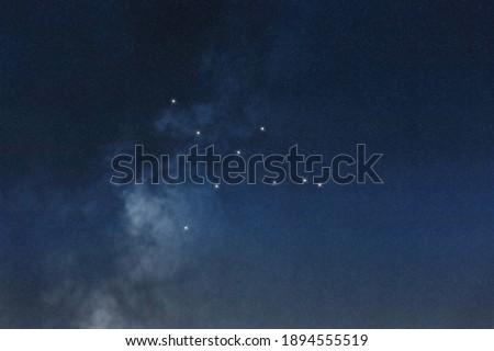 Cygnus star constellation, Night sky, Cluster of stars, Deep space,Swanconstellation,Northern Cross Royalty-Free Stock Photo #1894555519