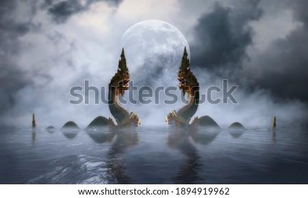 The Naga at khong river on the night of the full moon Royalty-Free Stock Photo #1894919962
