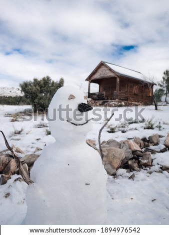 Snowman on the front wit a log cabin at the back over a snow background with some vegetation. Picture took at Alcublas, in Valencia, Spain, during Filomena storm.