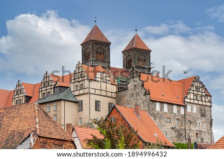 Castle hill with collegiate church of St. Servatius, UNESCO World Heritage Site, in Quedlinburg, Germany Royalty-Free Stock Photo #1894996432