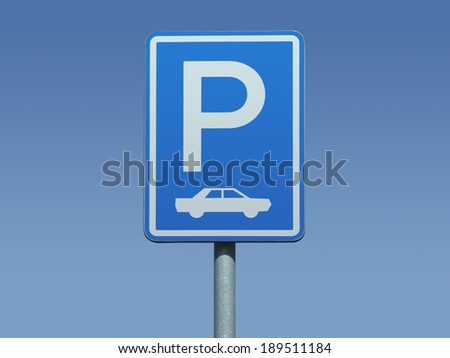 Parking sign for cars