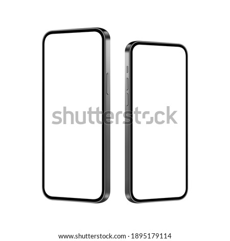 Smartphones Mockups with Blank Screens, Side Perspective View, Isolated on White Background. Vector Illustration