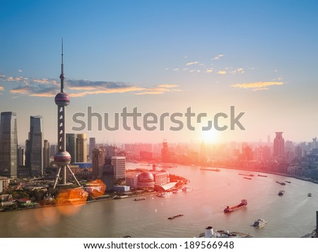 shanghai skyline and huangpu river in a beautiful dusk scene