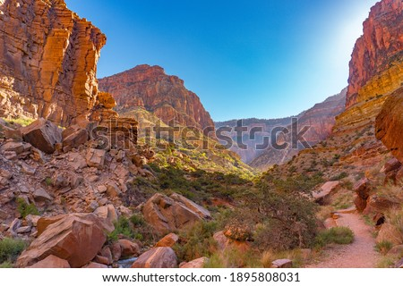 First Light at the Bottom of the Grand Canyon Royalty-Free Stock Photo #1895808031