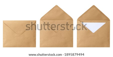 Brown envelope front with card inside isolated on white background. Letter top view. Object with clipping path Royalty-Free Stock Photo #1895879494
