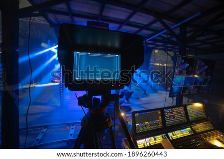 online broadcast of the event.TV studio Royalty-Free Stock Photo #1896260443