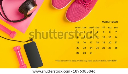 March 2021- Desk Calendar with Motivational Inspirational Quotes on color background. Size 260x135mm + margo 3mm, 300 dpi.