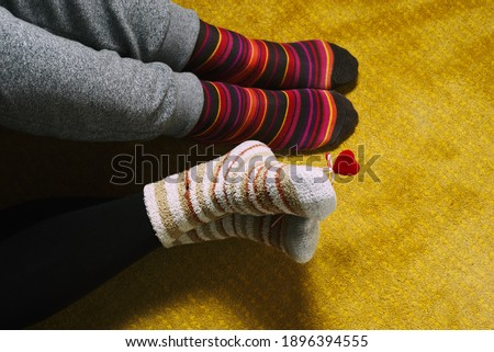 socks man, woman and heart, love, valentine's day indoors #1896394555