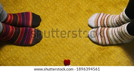 socks man, woman and heart, love, valentine's day indoors #1896394561