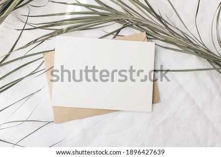 Summer tropical stationery still life scene. Dry date palm leaf on white table cloth in sunlight. Blank greeting card, invitation mockup with craft paper envelope. Long shadows. Vacation flat lay, top Royalty-Free Stock Photo #1896427639