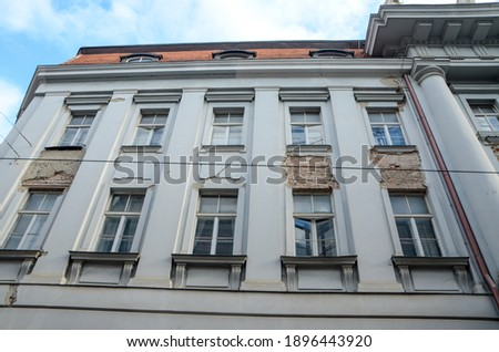 Zagreb, Croatia after a series of earthquakes. Damaged buildings in city center. Catastrophic earthquake caused widespread damage. Demolished facade. Croatia was hit by catastrophic earthquake Royalty-Free Stock Photo #1896443920