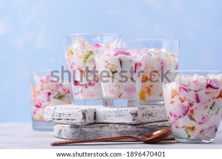 Multicolored gelatin dessert Mosaic with fruit jelly Royalty-Free Stock Photo #1896470401