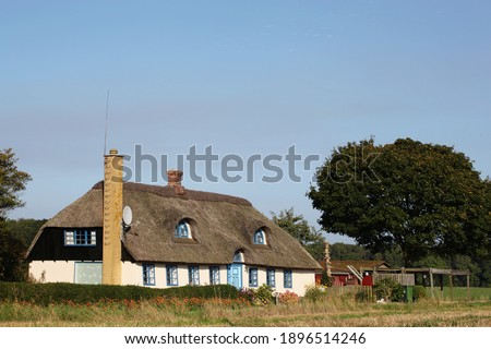 Traditional house in Denmark with thatched roof Royalty-Free Stock Photo #1896514246