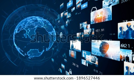 Visual contents concept. Social networking service. Streaming video. Global communication network. 3D rendering. Royalty-Free Stock Photo #1896527446