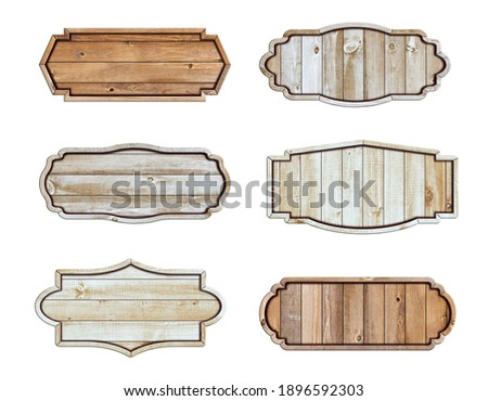 Wooden sign board isolated on white background