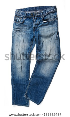 Blue jeans trouser isolated on the white background  #189662489