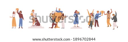 Set of happy competition champions holding golden cups and standing on pedestal. Success of male, female and dog winners awarded with prize. Flat vector illustration isolated on white background Royalty-Free Stock Photo #1896702844