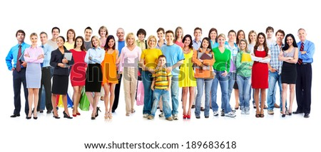 Big family people group isolated white background. Royalty-Free Stock Photo #189683618