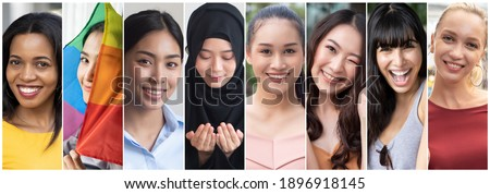Collage of diverse and inclusive women from around the world, concept of international women's day or IWD, world women with diversity and inclusivity, ethnicity and religion tolerance, women's right Royalty-Free Stock Photo #1896918145