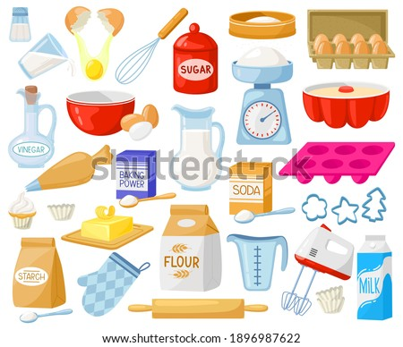 Cartoon baking ingredients. Bakery ingredients, baking flour, eggs, butter and milk vector illustration set. Pastry prepare cooking ingredients. Food supplies as rolling pin , mixer Royalty-Free Stock Photo #1896987622