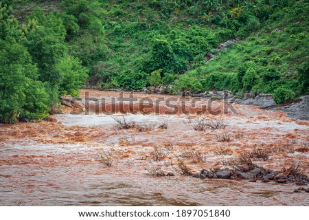 a picture of a river in flood season
