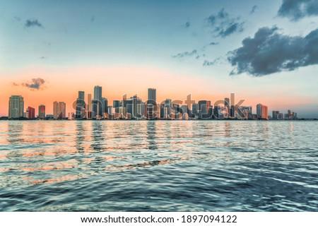 skyline miami florida water sea buildings panorama