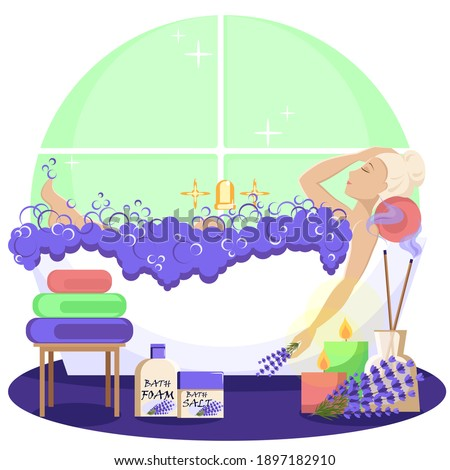 Pretty blonde relaxes in the bath. The girl uses foam and bath salt, aroma oil with lavender scent. Colorful cartoon vector illustration. Royalty-Free Stock Photo #1897182910