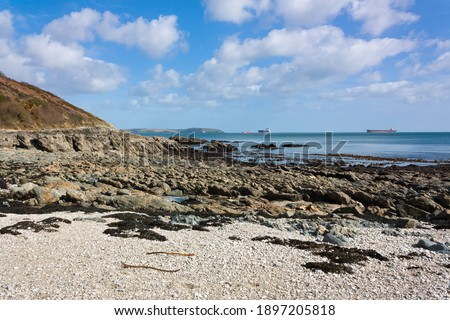 Sunny Cove beach located between Falmouth and Maenporth Cornwall England UK