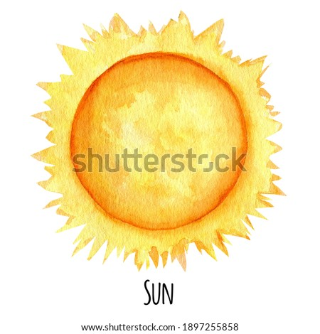 Sun Planet of the Solar System watercolor isolated illustration on white background. Outer Space planet hand drawn. Our galaxy astronomy education material