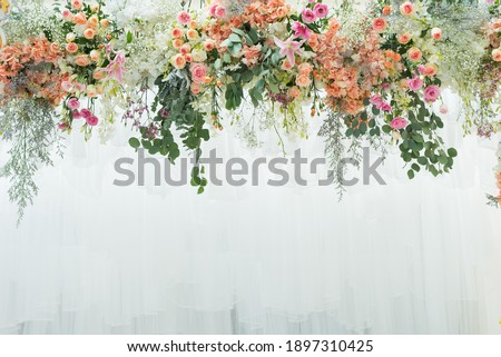 wedding flower backdrop background, colorful background, fresh rose, bunch of flower  Royalty-Free Stock Photo #1897310425