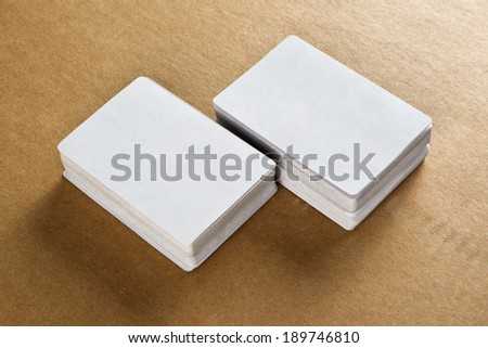 Business cards with rounded corners. Stack of blank vertical business cards with copy space for your design