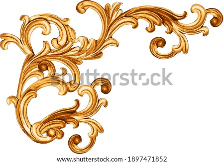golden baroque ornament on white background Royalty-Free Stock Photo #1897471852