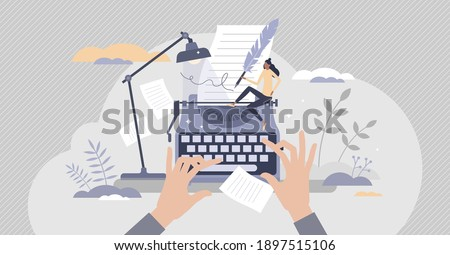 Blog author and creative literature writer and freelancer tiny person concept. Publishing editor and journalist creates post for social media or personal website vector illustration. Press release job Royalty-Free Stock Photo #1897515106
