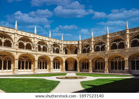 The Hieronymites Monastery, Mosteiro dos Jeronimos is located in Lisbon Portugal. Considered the most prominent monument of Lisbon and has been classified by UNESCO as a World Heritage Site. Royalty-Free Stock Photo #1897523140