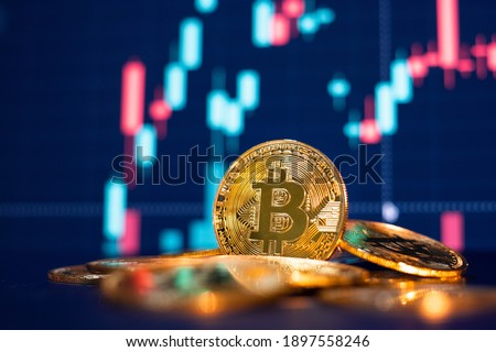 Bitcoin gold coin and defocused chart background. Virtual cryptocurrency concept. Royalty-Free Stock Photo #1897558246