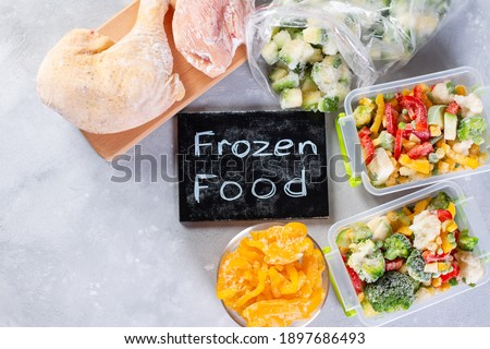 Frozen food, vegetables and meat. Place for text. Copy space. Top view Royalty-Free Stock Photo #1897686493