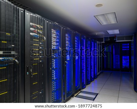 Server room data center. Backup, mining, hosting, mainframe, farm and computer rack with storage information