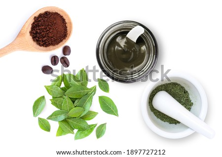 Dry and fresh Henna leaf, Herbal Henna hair dye powder and coffee powder isolated on white background. Natural product for organic hair colouring concept. Top view. Flat lay.