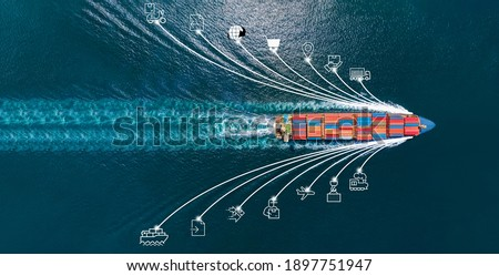 Aerial top view of cargo ship with contrail and smart icons on the ocean sea , ship carrying container export from container international port to custom ocean concept freight shipping by ship service Royalty-Free Stock Photo #1897751947