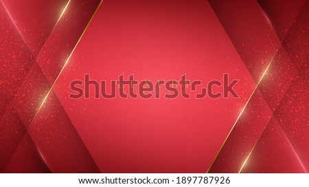 Luxury abstract red background with golden lines sparkle geometric shapes. Illustration from vector about modern template design for a sweet and elegant feeling. Royalty-Free Stock Photo #1897787926