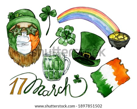 Watercolor hand drawn clip art of Saint Paticks Day isolated on white background.