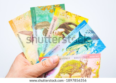 Costa Rican money, Colones, Banknotes spread out in a fan and held in a male hand, White background Royalty-Free Stock Photo #1897856356