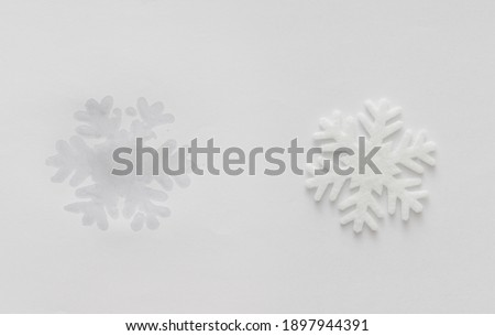 Global warming and environmental change shown by melting snowflake leaving wet print. Concept against pollution and climate change. Royalty-Free Stock Photo #1897944391