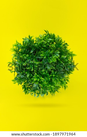 Green grassy ball, Leaf covered Earth on a yellow background. Concept day earth. Environmentally friendly planet Royalty-Free Stock Photo #1897971964
